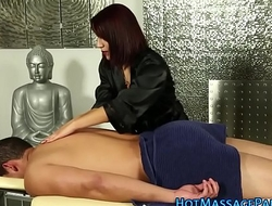 Latina masseuse gobbles