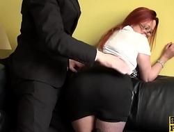 Redhead UK sub with big tits riding dick