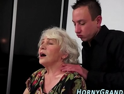 Titfucked granny mouthful