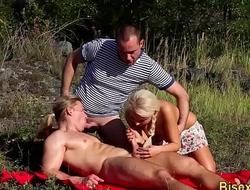 Slut fucks bisex dudes