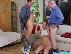 Busty amateur pounded by pensioners