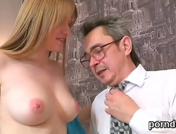 Sweet schoolgirl was seduced and plowed by her older teacher