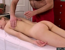 Hot Russian being massaged by an old dude