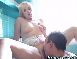 Tongued granny gets cum