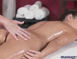 Massage Rooms Sexy blonde lesbian fills cute brunette up with oily fingers
