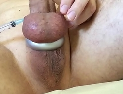 Playing with a needle in my balls it gives me a big thrill