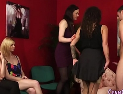 Clothed hotties fuck guy