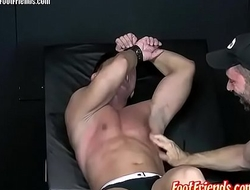 Pervy twink Franco enjoys being tied up and tickled by Tan