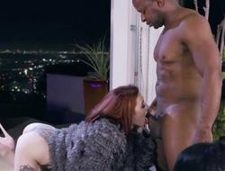 Slim redhead girl in high heels shagged by horny black man